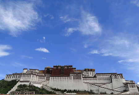 Potala Palace in Lhasa, Tibet Region, China. Potala was the residence of the Dalai Lama until the 14th Dalai Lama fled to India during the 1959.