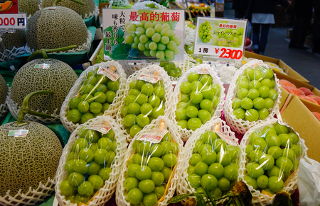 Hakodate, Japan - Oct 1, 2017. Japanese grapes for sale at Asaichi Market. The Market is a must-see attraction for anyone visiting the city of Hakodate, Hokkaido, Japan. Redakční