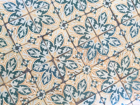 Retro tile on floor at the ancient palace in Saigon, Vietnam. Banco de Imagens