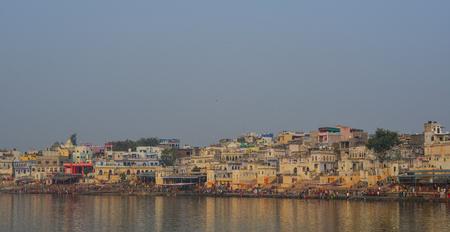 Pushkar, India - Nov 5, 2017. Cityscape of Pushkar, India. Pushkar is a holy city in Rajasthan, famous for its Brahma temple, lake, and ghats. Stock Photo - 90045895