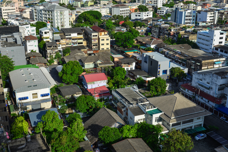 Bangkok, Thailand - Jun 18, 2017. Cityscape of Bangkok, Thailand. Bangkok occupies 1,568.7 square kilometres (605.7 sq mi) in the Chao Phraya River delta in Central Thailand. Editorial