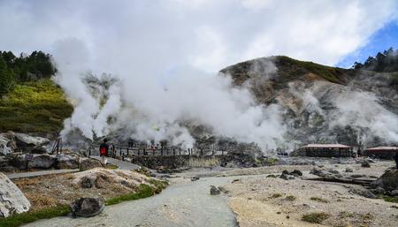 Akita, Japan - May 17, 2017. People visit Tamagawa Hot Spring in Akita, Japan. Tamagawa is the highest flow rate hot spring, it has the most acidic water in Japan. 報道画像