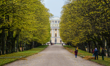 St. Petersburg, Russia - Oct 12, 2016. People visit Pavlovsk Palace with garden in Saint Petersburg, Russia. The Palace is Imperial residence, built in 18th century near St. Petersburg. Editorial