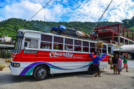 Coron, Philippines - Apr 4, 2017. Bus station in Coron Island, Philippines. Coron is the third-largest island in the Calamian Islands in northern Palawan.