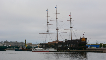 St. Petersburg, Russia - Oct 14, 2016. An ancient ship on river in St Petersburg, Russia. St Petersburg is inscribed on the UNESCO list as an area with 36 historical architectural complexes.