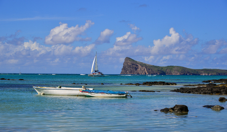 Malheureux, Mauritius - Jan 7, 2017. Tourist boats on the sea in Cap Malheureux, Mauritius. Mauritius is a major tourist destination, ranking 3rd in the region and 56th globally. Editorial