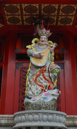 Hong Kong - Mar 30, 2017. God statue at Wong Tai Sin Temple in Hong Kong, China. The temple is home to three religions - Taoism, Buddhism and Confucianism. Editorial