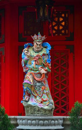Hong Kong - Mar 30, 2017. God statue at Wong Tai Sin Temple in Hong Kong, China. Wong Tai Sin or Huang Daxian is a Chinese Taoist deity popular in Hong Kong.