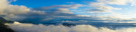 Clouscape on the top of mountain in Paro, Bhutan. Panorama view.