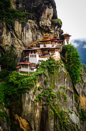 Paro Taktsang (Tiger Nest Temple) in Upper Paro Valley, Bhutan. Taktsang Lhakhang is Bhutan most iconic landmark and religious site.