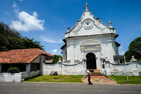 Galle, Sri Lanka - Sep 9, 2015. Dutch Church at old town of Galle, Sri Lanka. Galle had been a prominent seaport long before western rule in the country.