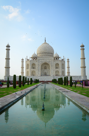 Agra, India - Jul 13, 2015. View of Taj Mahal in Agra, India. The palace, one of the most beautiful monuments, is one of the wonders of the world. Editorial