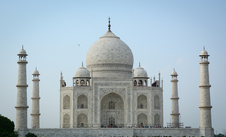 Facade of Taj Mahal at sunny day in Agra, India. Stock Photo