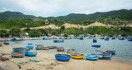 Fishing village with a small pier in Nha Trang, Vietnam. Stok Fotoğraf