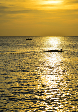 Sunset on the ocean in Phu Quoc Island, Southern Vietnam.