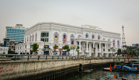 Ha Long, Vietnam - May 23, 2016. A modern building at downtown in Ha Long, Vietnam. Ha Long, a city on Vietnam northern coast, is a jumping-off point for Ha Long Bay.