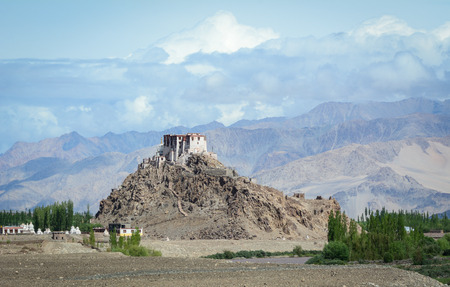 A Tibetan Buddhist temple on mountain in Ladakh, India.