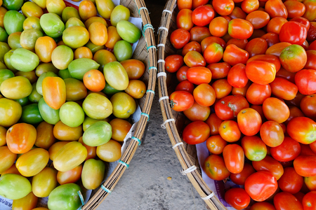 Fresh red tomatoes on bamboo basket at the local market in Yangon, Myanmar. Imagens