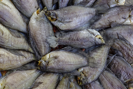 Salted fish at local market in Mekong Delta, Vietnam. Stock Photo