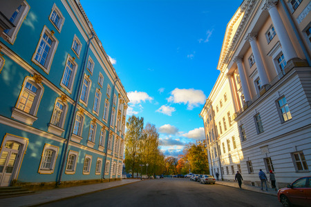 St Petersburg, Russia - Oct 7, 2016. Catherine Palace at sunny day in St Petersburg, Russia. The palace is a Rococo palace located in the town of Tsarskoye Selo (Pushkin). Editorial