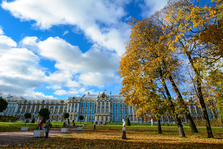 St Petersburg, Russia - Oct 7, 2016. People visit the Catherine Palace in Saint Petersburg, Russia. The palace is a Rococo palace located in the town of Tsarskoye Selo (Pushkin).