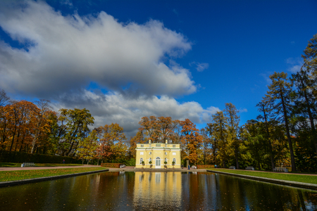 An ancient palace at autumn in Saint Petersburg, Russia.