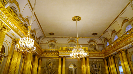 St Petersburg, Russia - Oct 8, 2016. Interior of Hermitage (Winter Palace) in Saint Petersburg, Russia. Hermitage was founded in 1764, by Empress Catherine the Great. Редакционное