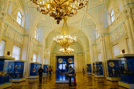 St Petersburg, Russia - Oct 8, 2016. People visting Hermitage Museum in Saint Petersburg, Russia. Hermitage is the second largest museum in the world, was founded in 1764.