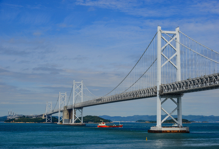 Okayama, Japan - Oct 5, 2017. Seto Ohashi Bridge at sunny day in Okayama, Japan. Seto Ohashi is the inclusive name for six consecutive bridges connecting five islands.