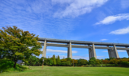 Okayama, Japan - Oct 5, 2017. Great Seto Bridge with the park in Okayama, Japan. Seto Bridge is a collective term for the six bridges that connect Honshu and Shikoku Island. Reklamní fotografie