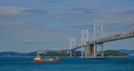 Okayama, Japan - Oct 5, 2017. Great Seto Bridge at sunny day in Okayama, Japan. Seto Ohashi is the inclusive name for six consecutive bridges connecting five islands.