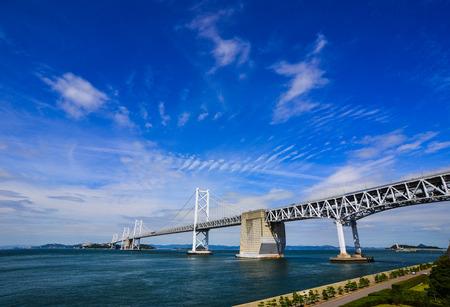 Okayama, Japan - Oct 5, 2017. Great Seto Bridge in Okayama, Japan. Seto Bridge was built in 1988, it is a collective term for the six bridges that connect Honshu and Shikoku Island.