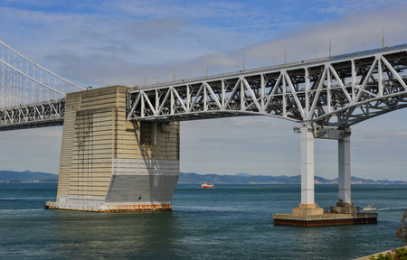 Okayama, Japan - Oct 5, 2017. View of Seto Ohashi Bridge in Okayama, Japan. Seto Ohashi is the inclusive name for six consecutive bridges connecting five islands.