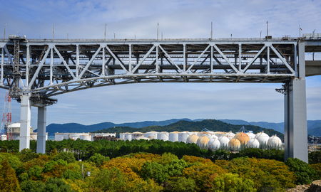 Okayama, Japan - Oct 5, 2017. Part of Seto Ohashi Bridge in Okayama, Japan. Seto Ohashi is the inclusive name for six consecutive bridges connecting five islands.