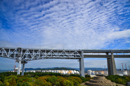 Okayama, Japan - Oct 5, 2017. Seto Ohashi Bridge under blue sky in Okayama, Japan. Seto Ohashi is the inclusive name for six consecutive bridges connecting five islands. Editorial