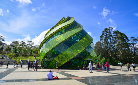 Dalat, Vietnam - Nov 25, 2017. Glass Pavillion of Lam Vien Square in Dalat, Vietnam. The architecture of Dalat is dominated by the style of the French colonial period. 報道画像