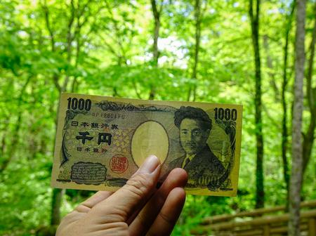 Hand holding 1000 yen (Japanese Yen) billnote with nature background.