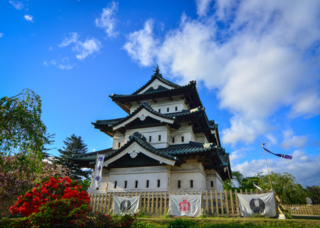 Aomori, Japan - May 16, 2017. View of Hirosaki Castle in Aomori, Japan. Hirosaki Castle (Hirosaki-jo) is a hirayama-style Japanese castle constructed in 1611.