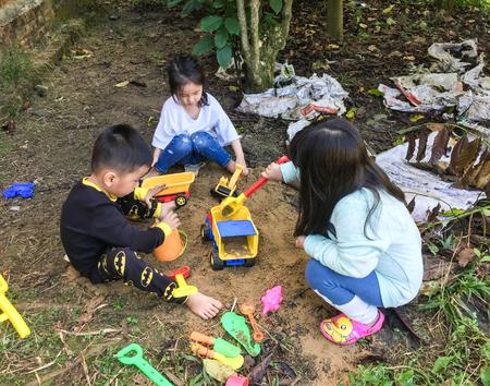 Saigon, Vietnam - Dec 5, 2017. Children playing at outdoor park in Saigon (Ho Chi Minh City), southern Vietnam.