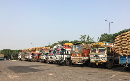 Agra, India - Nov 5, 2017. Truck trailers on rest area in Agra, India. Agra is one of the most populous cities in Uttar Pradesh, and the 24th most populous in India. Editorial