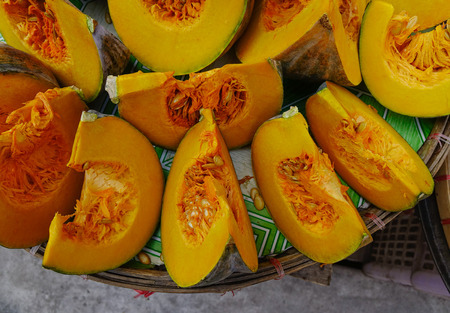 Slice of yellow pumpkin at Chinatown street market in Manila, Philippines.