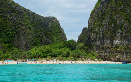 Phuket, Thailand - Jun 19, 2016. Maya Bay and Koh Phi Phi of Phuket, Thailand. Phuket consists of the island of Phuket, and another 32 smaller islands off its coast.