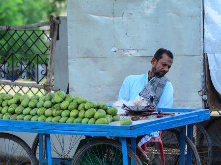 Bodhgaya, India - Jul 9, 2015. A man selling mango fruits on street in Bodhgaya, India. Bodh Gaya is considered one of the most important Buddhist pilgrimage sites.
