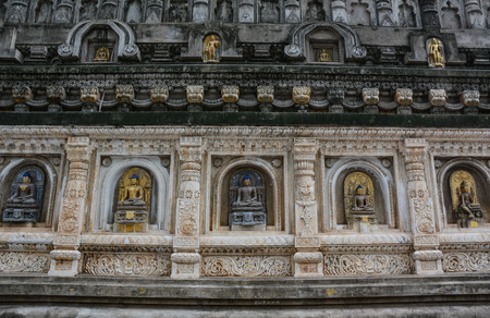 Details of Mahabodhi Temple Complex in Bodh Gaya, India.