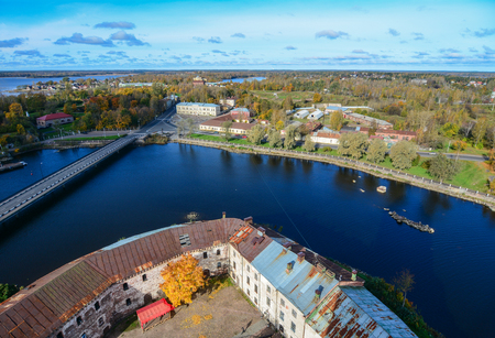 Aerial view of Vyborg, Russia. Vyborg stands at the head of Vyborg Bay of the Gulf of Finland.