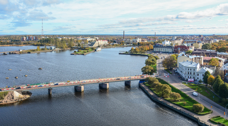 Vyborg, Russia - Oct 6, 2016. Aerial view of Vyborg, Russia. Vyborg stands at the head of Vyborg Bay of the Gulf of Finland, 113 km northwest of St. Petersburg.