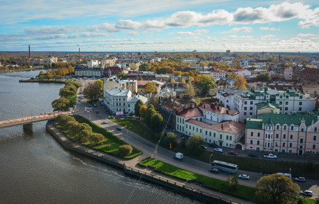 Vyborg, Russia - Oct 6, 2016. View of Vyborg Township with the river. Vyborg stands at the head of Vyborg Bay of the Gulf of Finland, 113 km northwest of St. Petersburg.