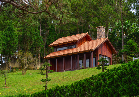 Ecological small wooden house at pine tree forest in Dalat, Vietnam.