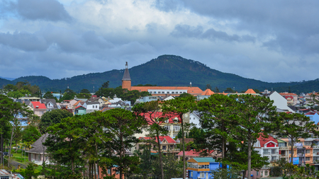 Cityscape of Dalat, Vietnam. The architecture of Dalat is dominated by the style of the French colonial period.