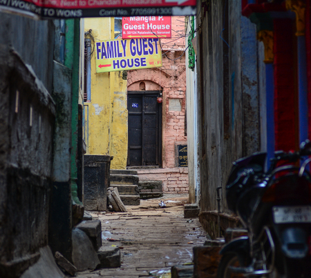 Varanasi, India - Jul 12, 2015. Street at old town in Varanasi, India. Varanasi is the holiest of the seven sacred cities (Sapta Puri) in Buddhism, Hinduism and Jainism. Editorial